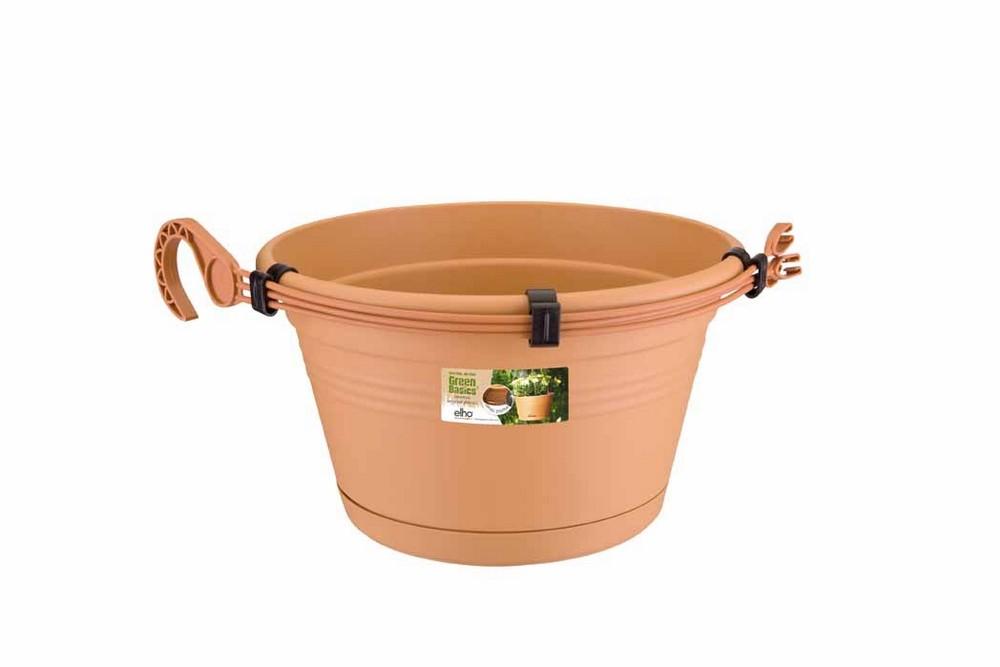 Green basics hanging basket 28cm, mild terracotta