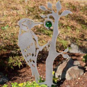 Djursiluett Metall Hackspett med 35mm glaskula