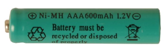 Batteri: AAA 1,2V Ni-mh 600mAh