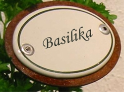 Basilika Skylt I Emalj På Spjut