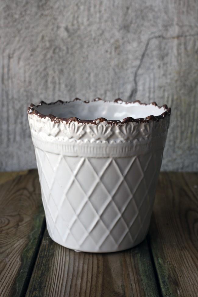 Keramik Kruka Vit/Rutig 16x14cm 1st